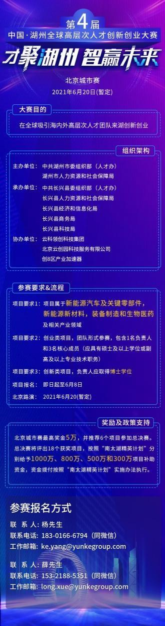 第四届中国湖州全球高层次人才创新创业大赛北京城市赛即将开赛