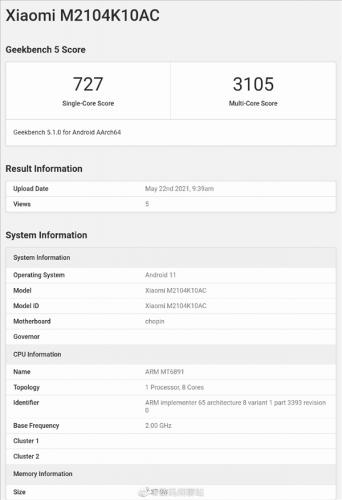 Redmi Note 10系列GeekBench跑分曝光:搭载天玑1100旗舰平台